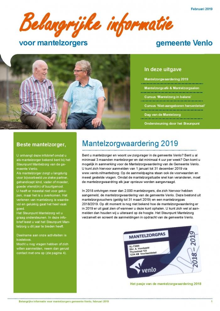Infobulletin Steunpunt Mantelzorg Venlo